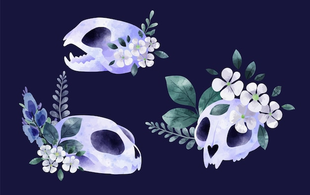 꽃과 함께 세 고양이 해골 귀여운 만화 그리기