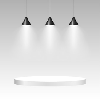 Three ceiling lamps with light