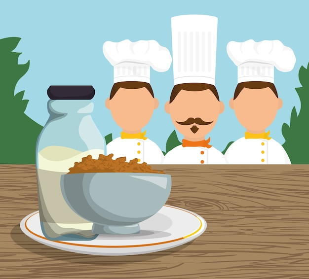 Three character chef breakfast cereal milk landscape