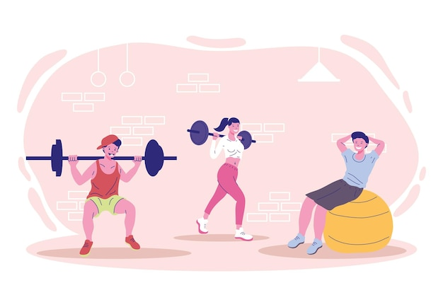 Three characters fitness practicing sports