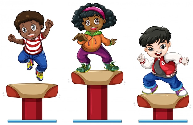 Three children on balance beam