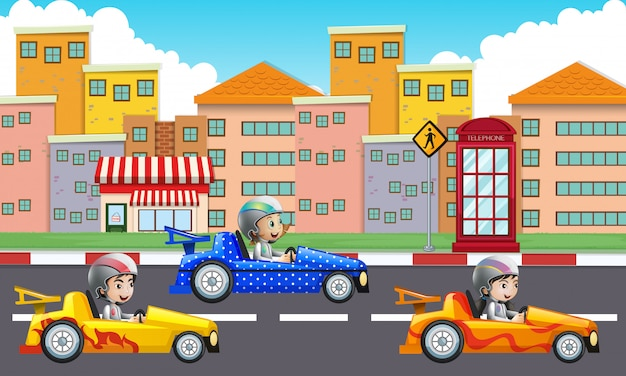 Three children driving racing cars on road
