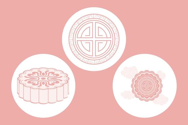 Three chinese moon festival set icons