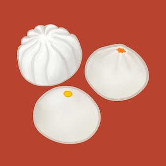 Three chinese steamed buns illustration