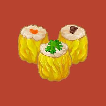 Three chinese style dumplings illustration