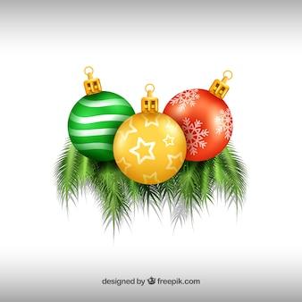 Three christmas balls background