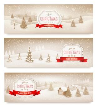 3 크리스마스 휴가 풍경 배너.