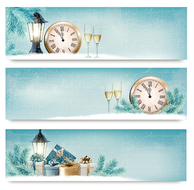 Three christmas, new year banners with gift boxes, lanterns and champagne.