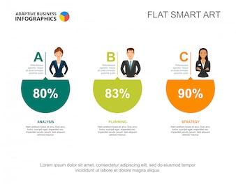 Three circle percentage diagram. Creative infographic, step chart