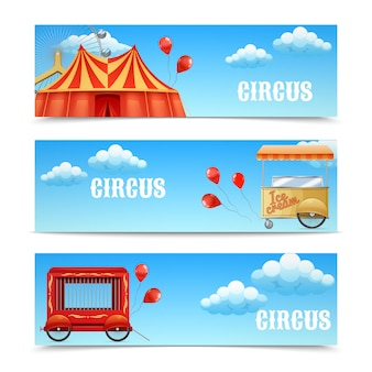 Three circus banners with arena ferris wheel balloons cage wagon ice cream cart