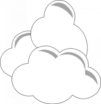 Three clouds piled