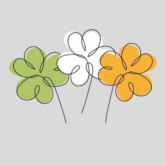 Три клевера окрашены в цвета ирландии. день святого патрика печать на сером