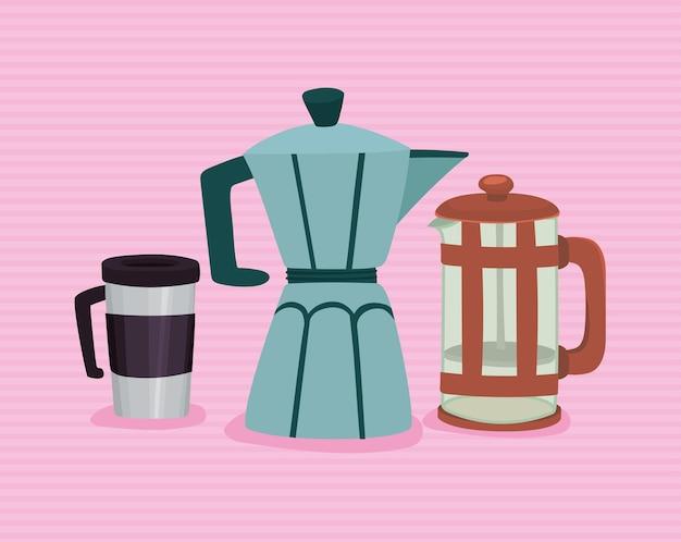 Three coffee makers