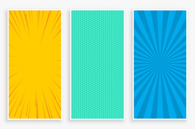 Three color comic style vertical banners set