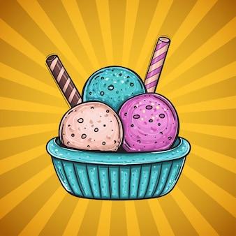 Три цветных шарика мороженого с разным вкусом, с двумя вафельными трубочками.