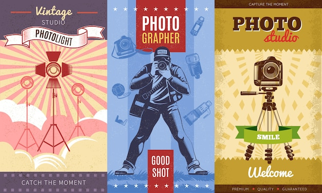 Three colored vintage photographer poster set with vintage studio photolight catch the moment photostudio smile descriptions