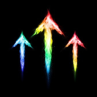 Three colorful fire arrows directed upward.