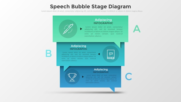 Three colorful overlaying rectangular speech bubbles with letters, thin line pictograms and place for text inside. concept of 3 stages of negotiations. infographic design layout.