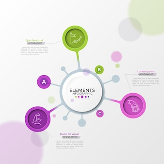 Three colorful round elements with linear symbols inside connected to main paper white circle and place for text. diagram with 3 options. realistic infographic design template. vector illustration.