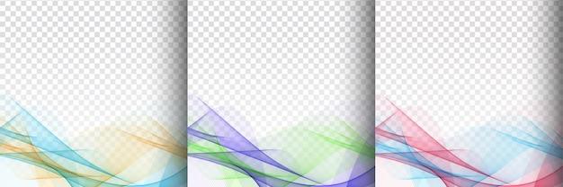 3つのカラフルな波のデザインの透明なセット