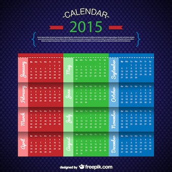 Three colors calendar template