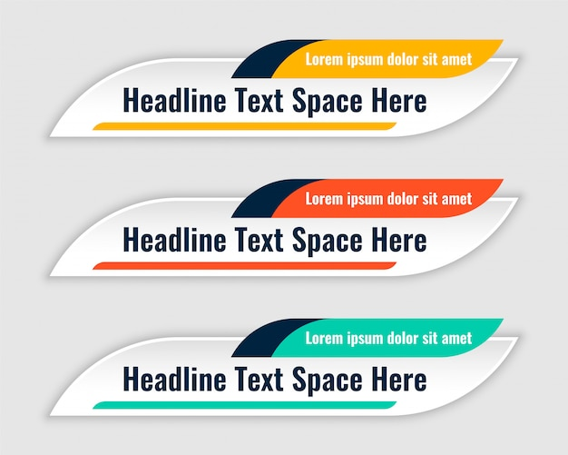 Three colors lower third banners template