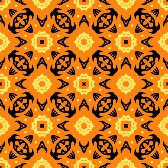 3色のシームレスな飾りの形。シンプルなパターンの抽象的な背景