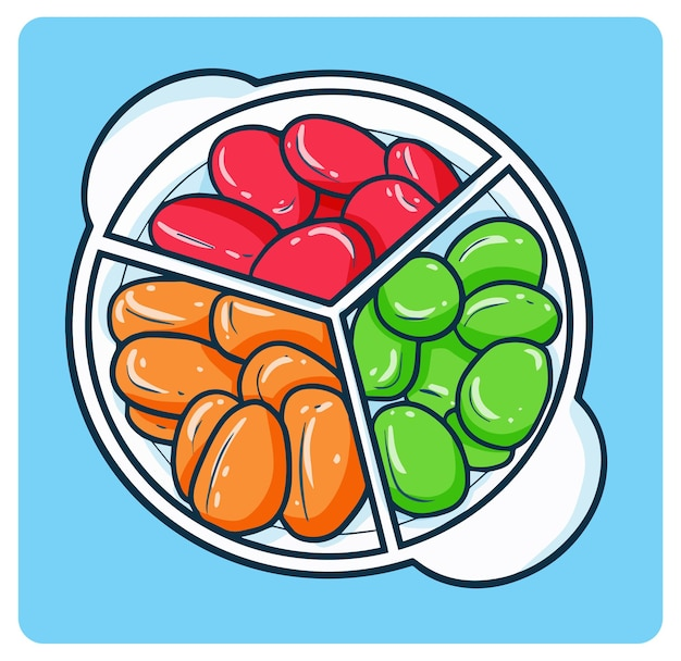 세 가지 색상의 설탕 야자 또는 달콤한 라마단 디저트를 kolangkaling