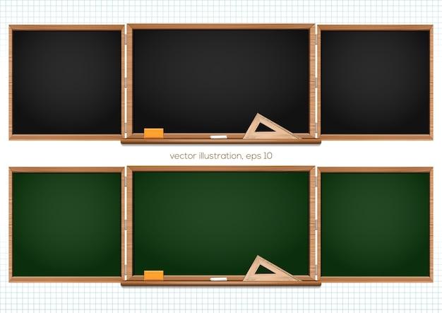 黒と緑の3つのコンポーネントの黒板。学校に戻る。