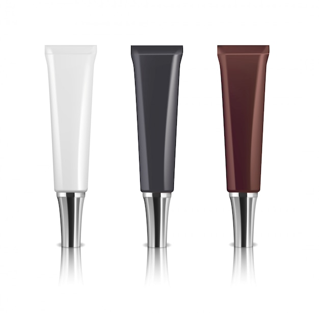 Three cosmetic tubes. different colors. serum or face cream package.