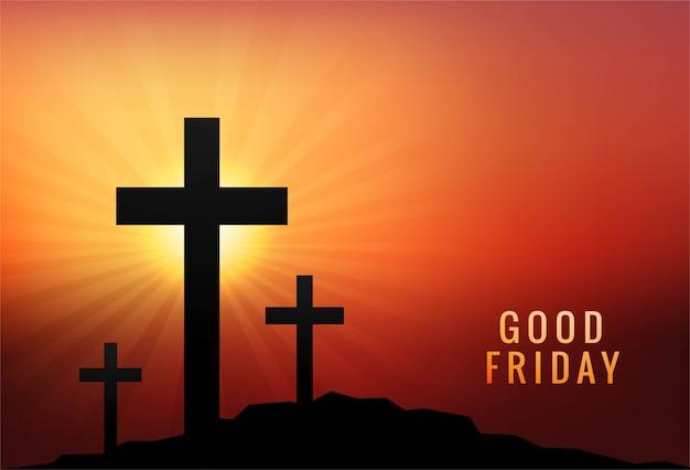 좋은 금요일 배경 일몰에 3 개의 십자가