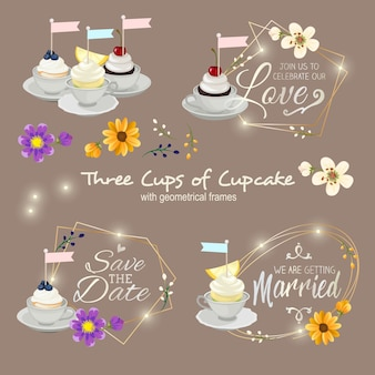 Three cups of cupcake