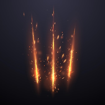 Three cut lines with sparks effect