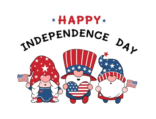 Three cute america gnome 4th of july independence day