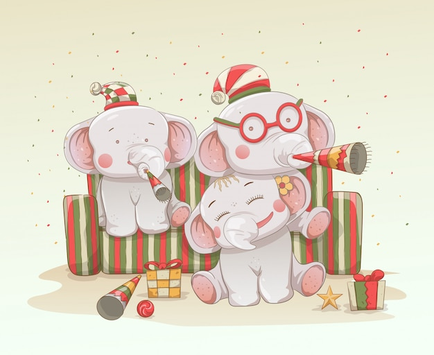 Three cute baby elephants celebrate christmas and new years together