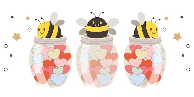 Three cute bees inside glass jars filled with colorful hearts on white background illustration