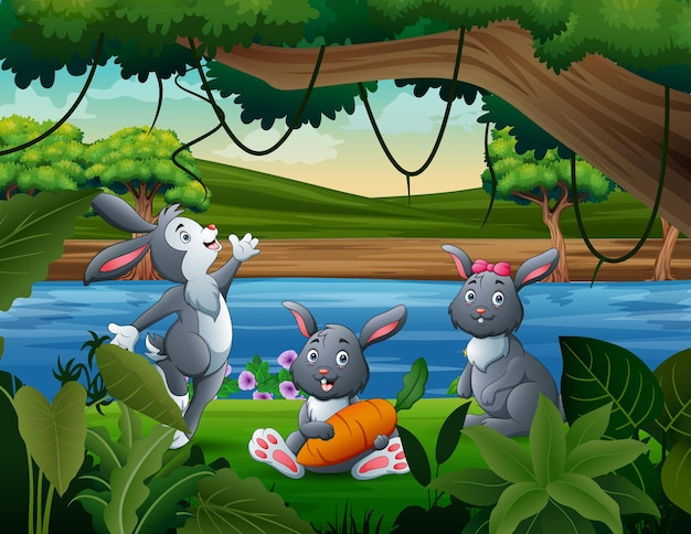 Three cute bunnies by the river illustration