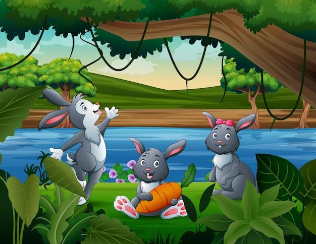 Три милых кролика у реки иллюстрации