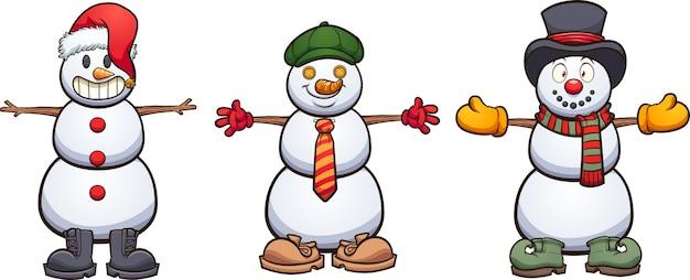 服の異なるアイテムを持つ3つのかわいい漫画の雪だるま。