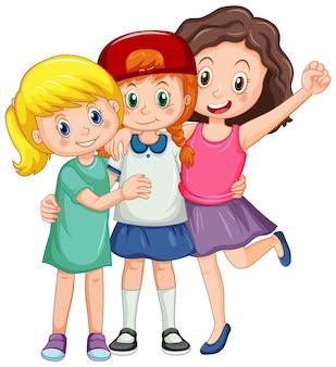 3人のかわいい女の子の漫画のキャラクター