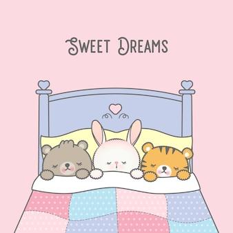 Three cute kawaii baby animals sleeping on a bed