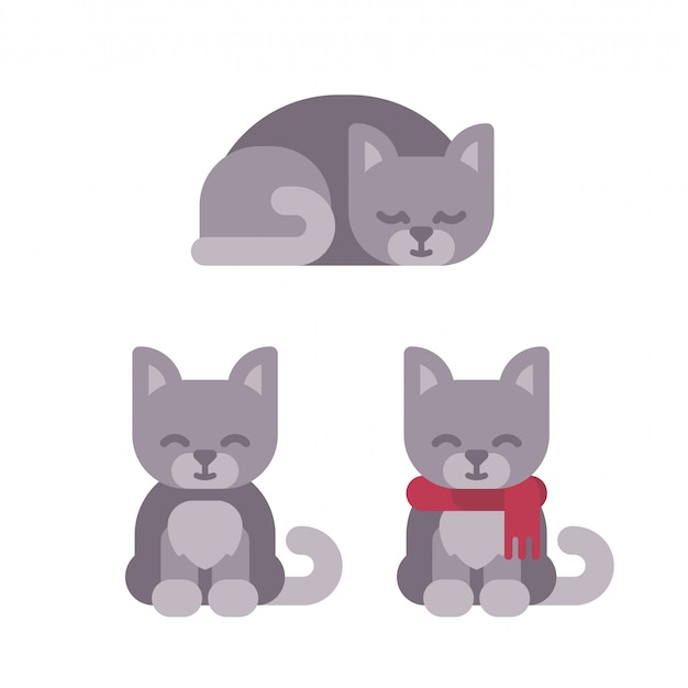 Three cute kitten christmas flat illustration