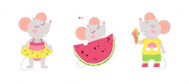 Three cute little mice eat ice cream, wears a swimming ring, eats a watermelon. summer characters.