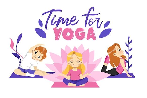 Three cute male and female characters do yoga on rugs.