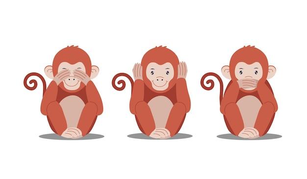 세 마리의 귀여운 원숭이가 눈, 귀, 입을 감고 있습니다.