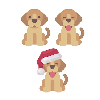 Three cute puppies christmas flat illustration