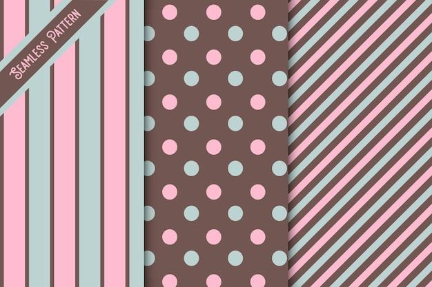 3 귀여운 원활한 패턴 세트