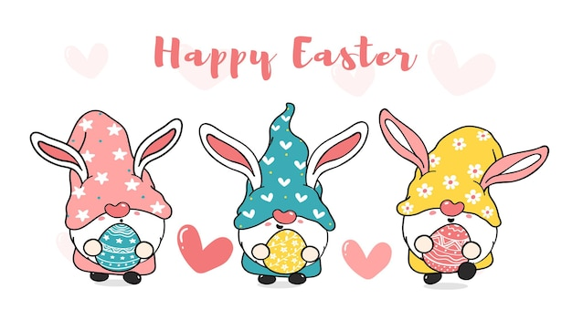 Three cute sweet easter bunny gnome with rabbit ears, happy easter cartoon
