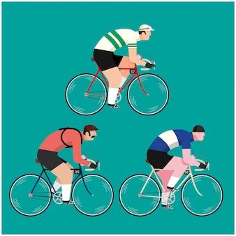 レトロなビンテージアパレル、ジャージ、服を着て自転車に乗る3人のサイクリスト。