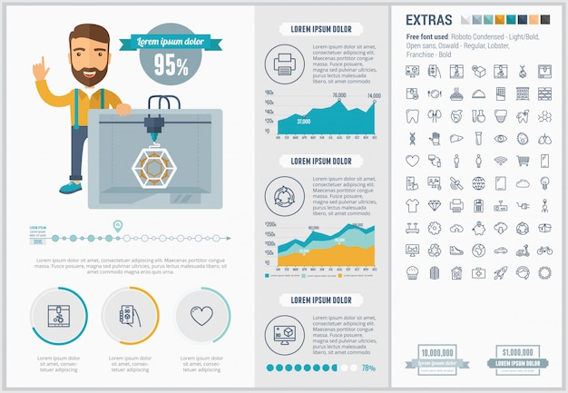 Three d printing flat design infographic template and icons set